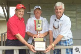 Pictured (l-r) are winning knights Bill Patterson, Scott Krantz, and Ed Miller.